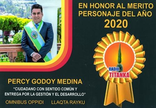 Alcalde Percy Godoy Medina reconocido como personaje del año 2020 por Radio Titanka